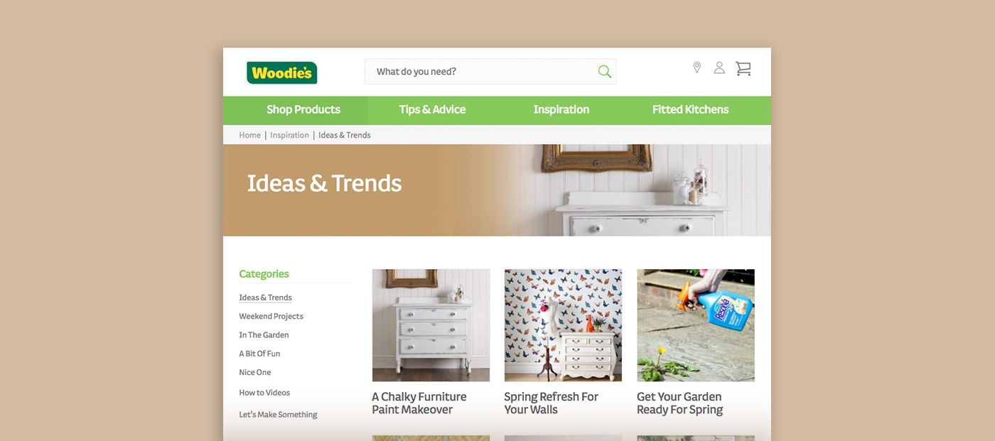 The Woodie's website features ideas, tips and advice to inspire customers