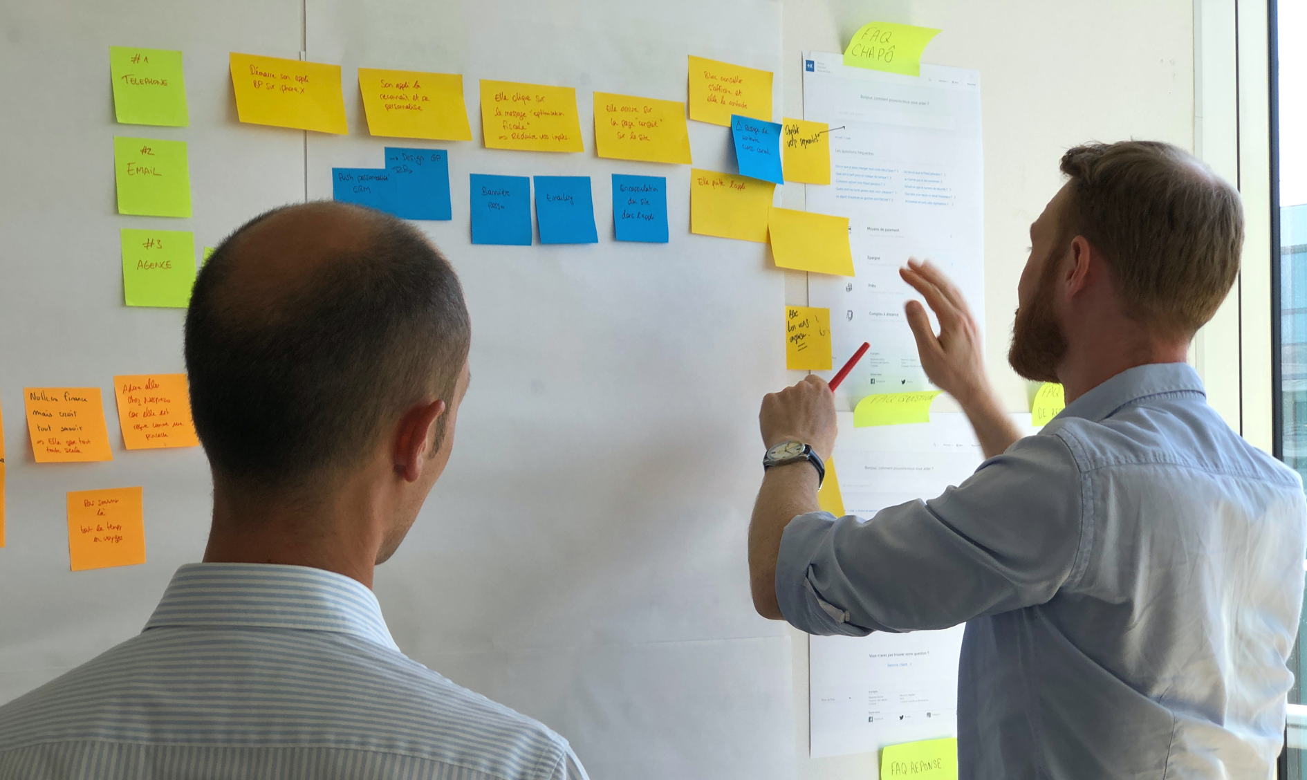 Image of two guys plotting out a site using post it notes