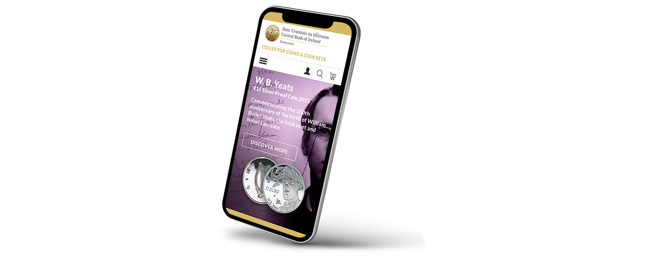 Mobile view of the main banner on the homepage displaying a new coin for sale
