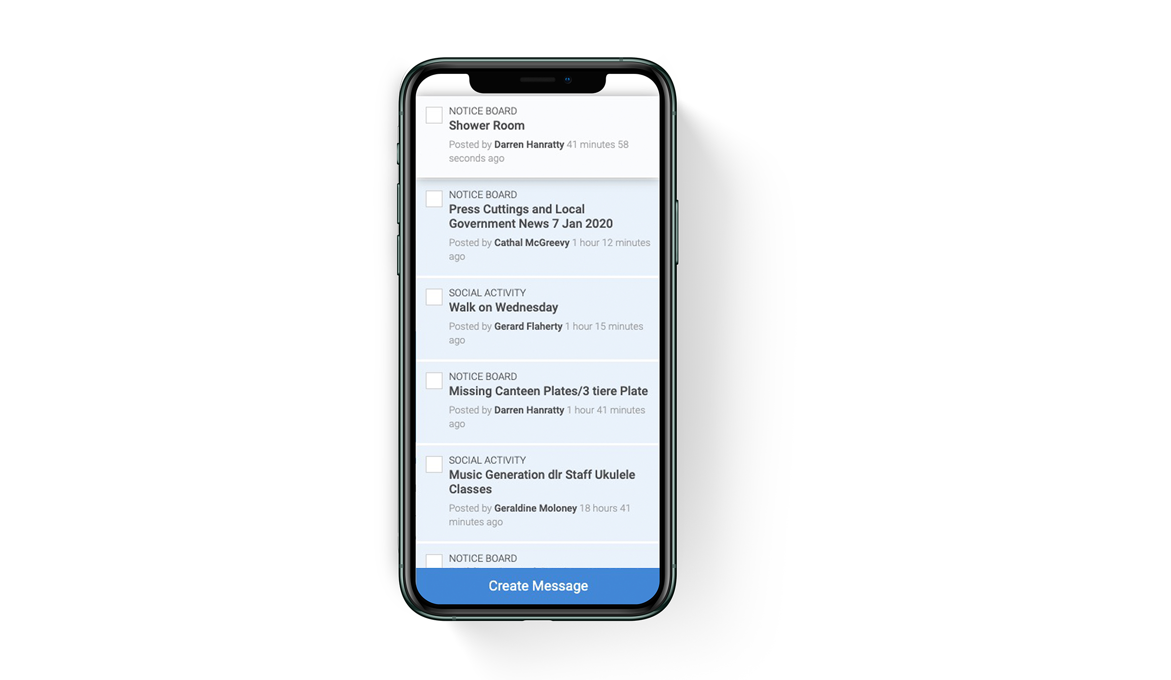 Mobile view of the message board on dlr Intranet