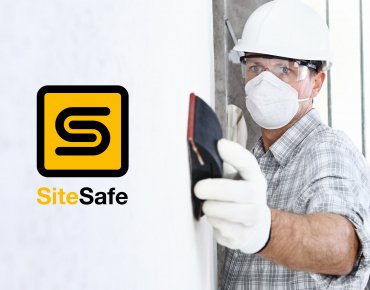 Site Safe brand - a man sanding with PPE