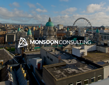 Monsoon Consulting's new Belfast office announcement image of the Belfast skyline