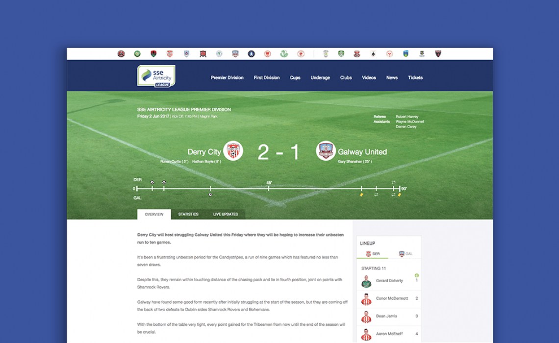 Stay up to date with the latest news and match highlights on the SSE Airtricity league website