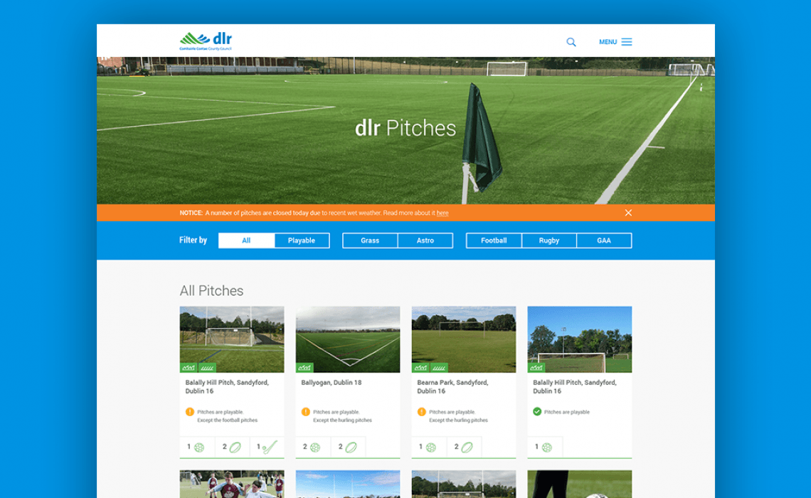 Pitches page
